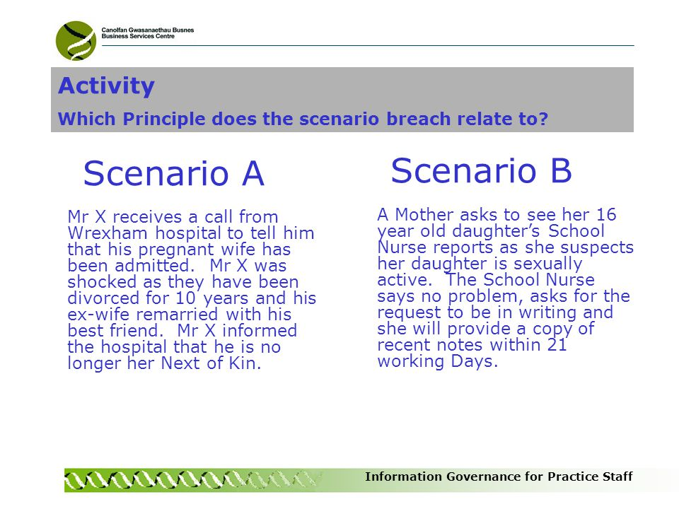 Information Governance for Practice Staff Scenario A Mr X receives a call from Wrexham hospital to tell him that his pregnant wife has been admitted.