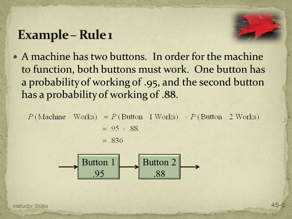 A machine has two buttons. In order for the machine to function, both buttons must work.