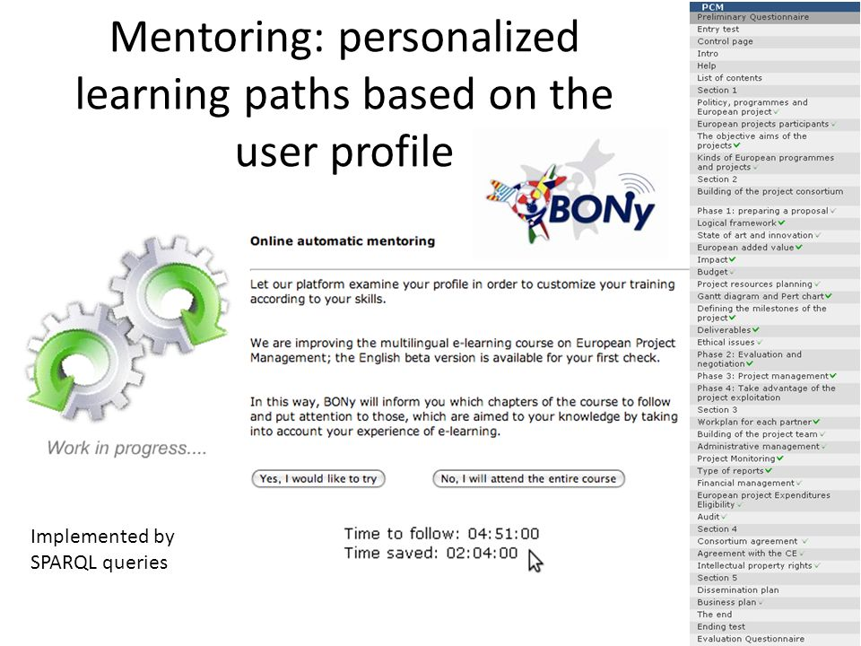 Mentoring: personalized learning paths based on the user profile Implemented by SPARQL queries