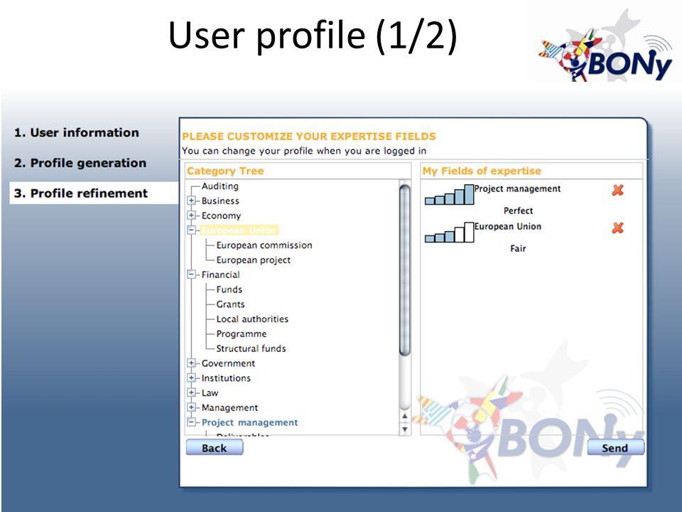 User profile (1/2)