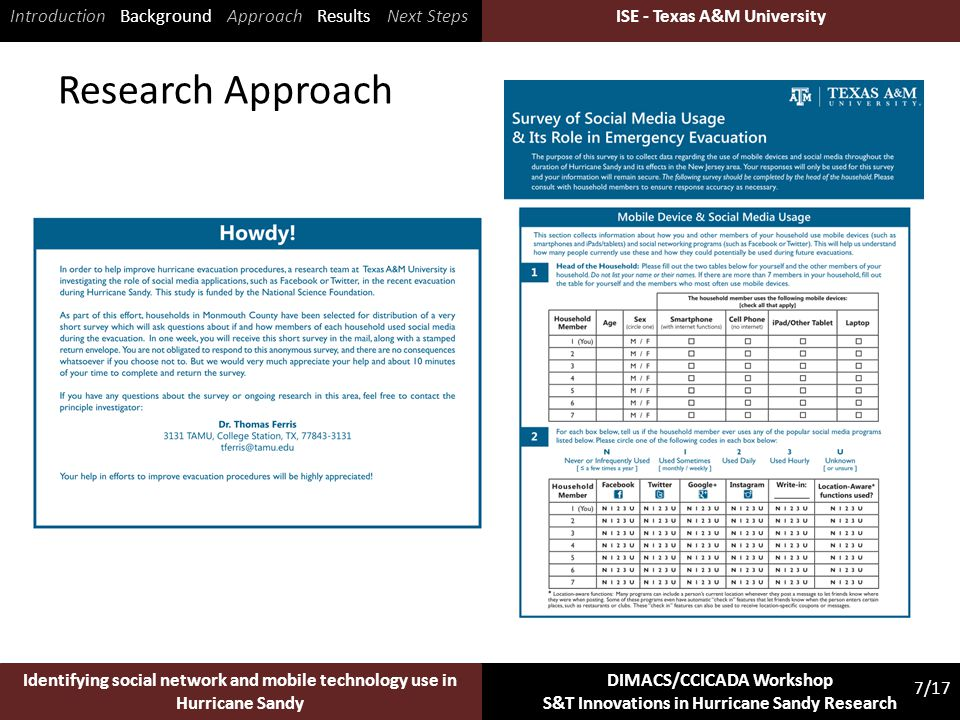 ISE - Texas A&M University 7/17 Identifying social network and mobile technology use in Hurricane Sandy DIMACS/CCICADA Workshop S&T Innovations in Hurricane Sandy Research ISE - Texas A&M University Research Approach Introduction Background Approach Results Next Steps