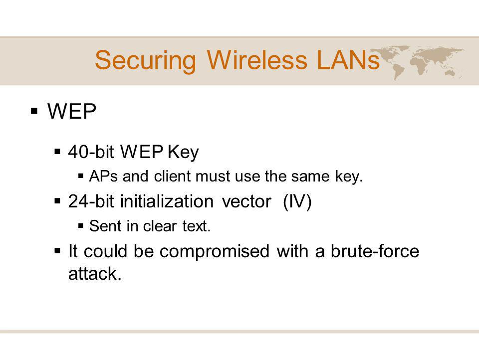 WEP 40-bit WEP Key APs and client must use the same key.
