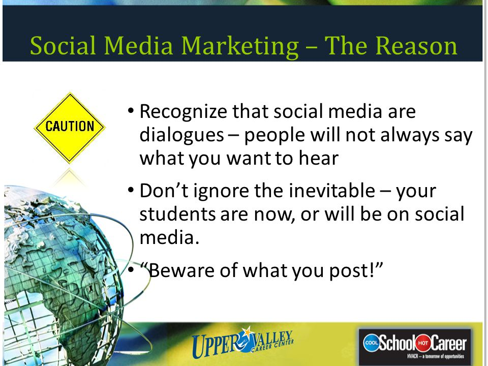 Social Media Marketing – The Reason Recognize that social media are dialogues – people will not always say what you want to hear Dont ignore the inevi