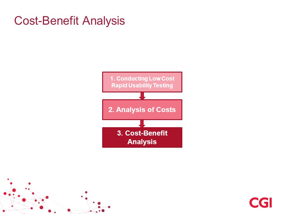 1. Conducting Low Cost Rapid Usability Testing 2. Analysis of Costs 3. Cost-Benefit Analysis