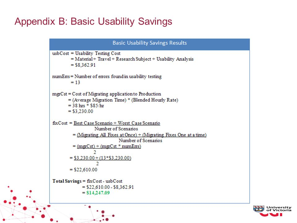 Appendix B: Basic Usability Savings