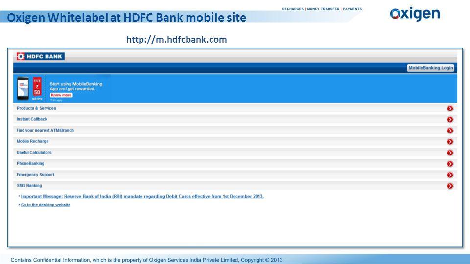 Oxigen Whitelabel at HDFC Bank mobile site http://m.hdfcbank.com