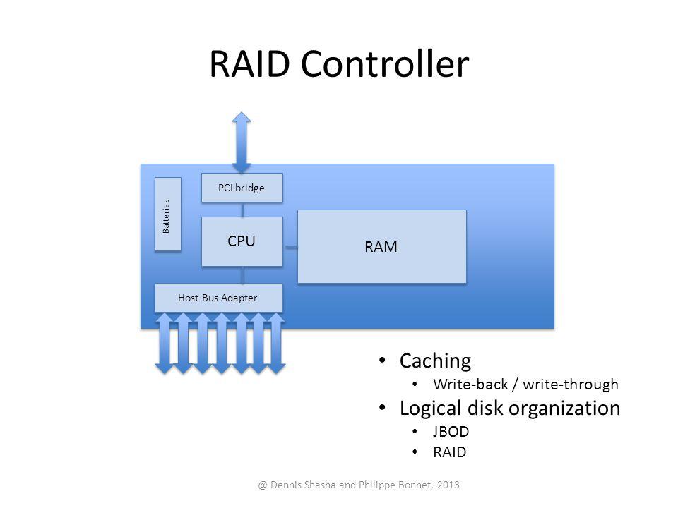 RAID Controller @ Dennis Shasha and Philippe Bonnet, 2013 CPU RAM PCI bridge Host Bus Adapter Caching Write-back / write-through Logical disk organization JBOD RAID Batteries
