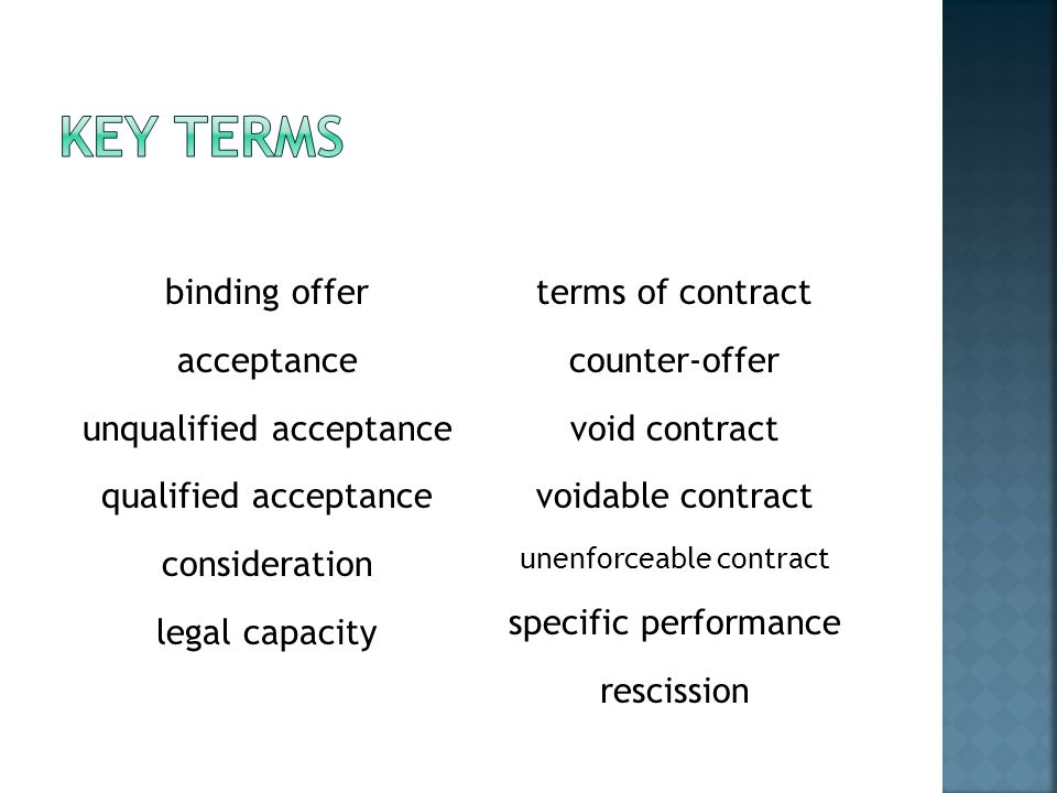 binding offer acceptance unqualified acceptance qualified acceptance consideration legal capacity terms of contract counter-offer void contract voidab