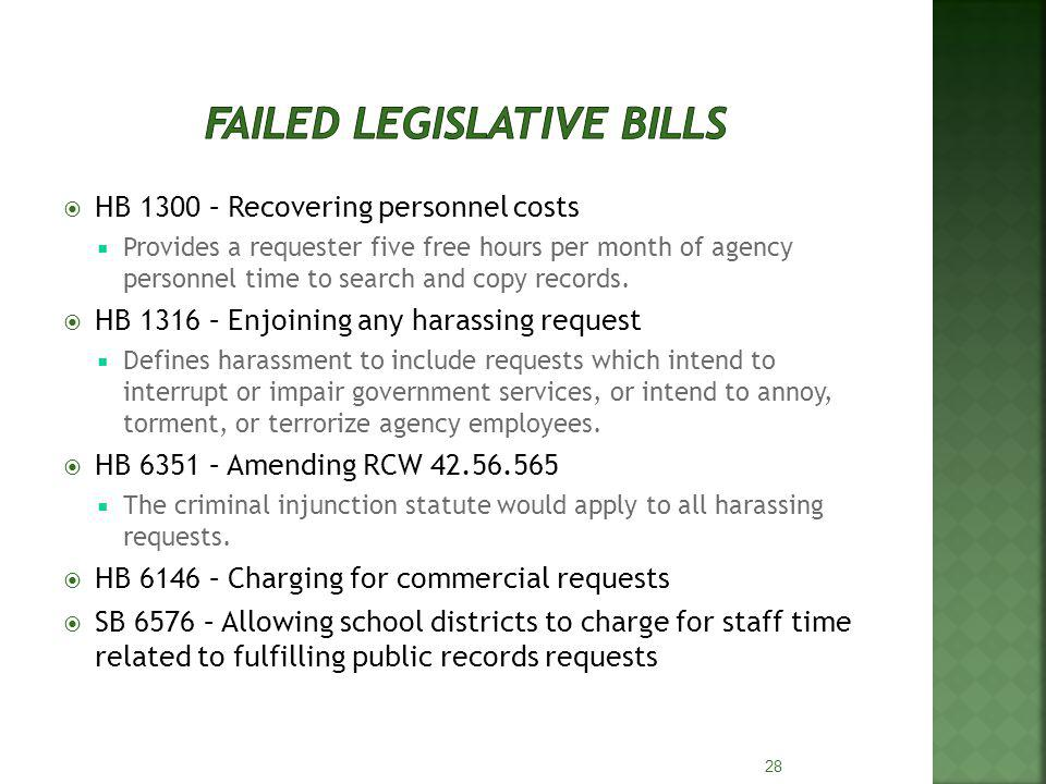 HB 1300 – Recovering personnel costs Provides a requester five free hours per month of agency personnel time to search and copy records. HB 1316 – Enj
