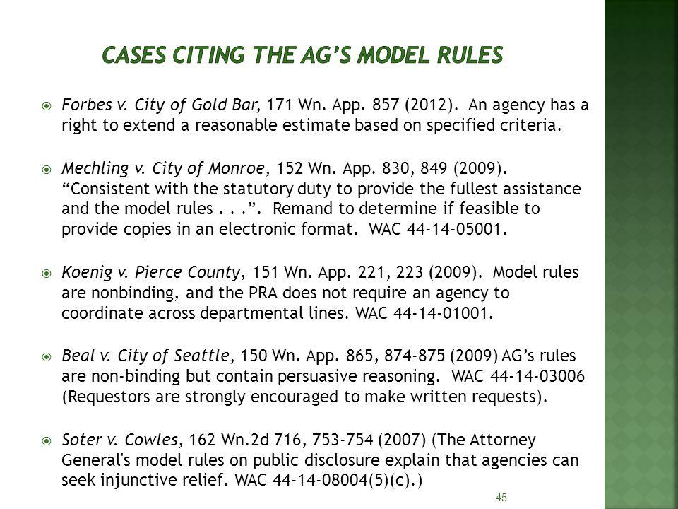 Forbes v. City of Gold Bar, 171 Wn. App. 857 (2012).