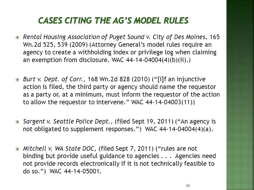 Rental Housing Association of Puget Sound v. City of Des Moines, 165 Wn.2d 525, 539 (2009) (Attorney Generals model rules require an agency to create