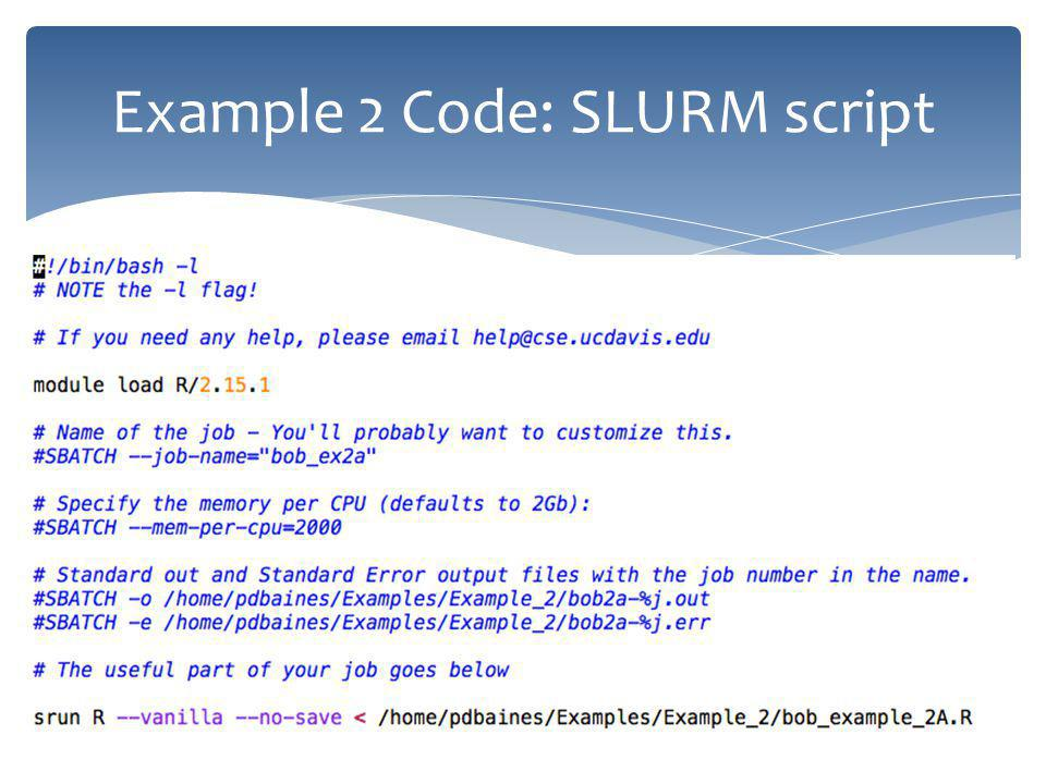 Example 2 Code: SLURM script