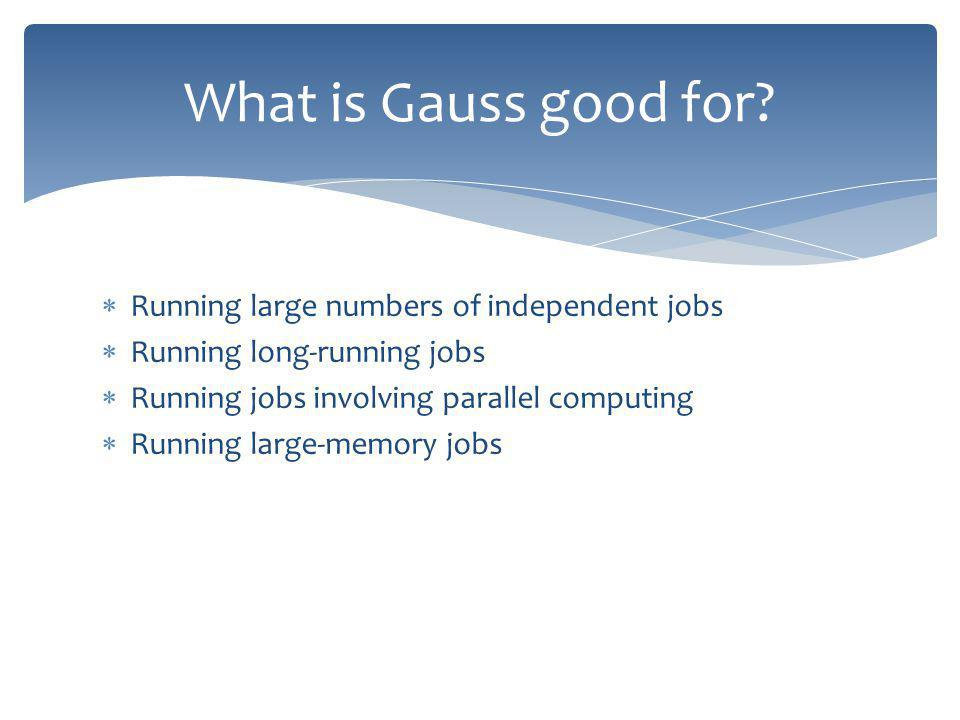 Running large numbers of independent jobs Running long-running jobs Running jobs involving parallel computing Running large-memory jobs What is Gauss good for?