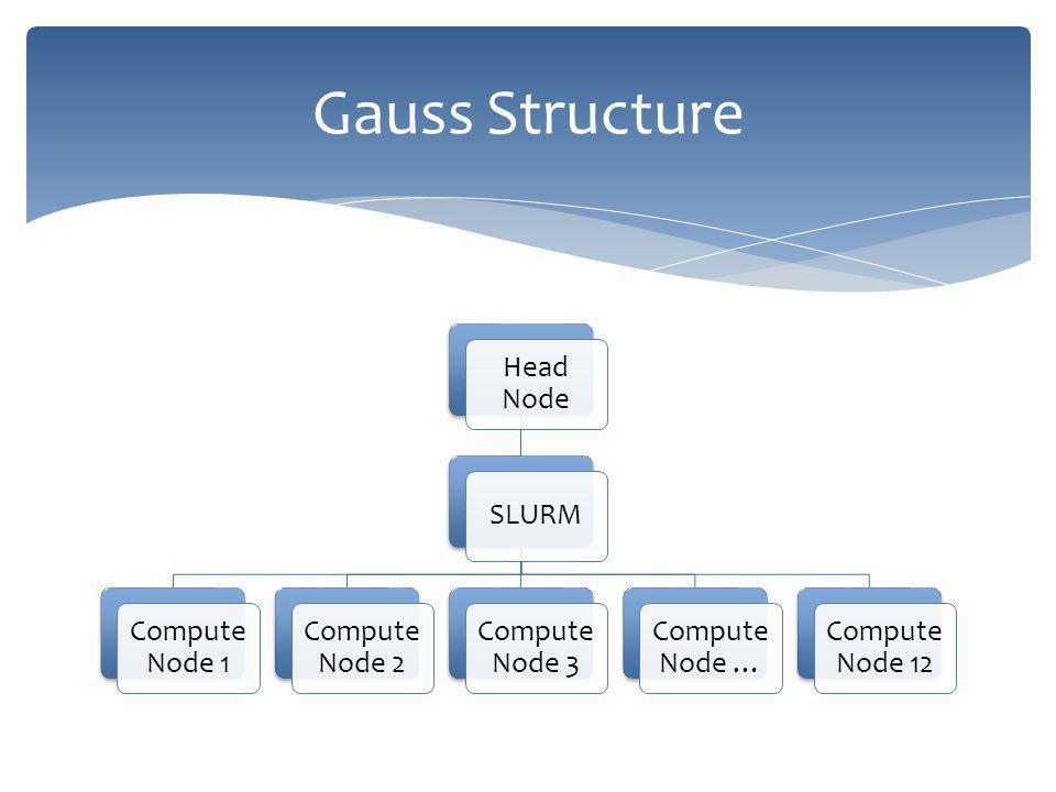Head Node SLURM Compute Node 1 Compute Node 2 Compute Node 3 Compute Node … Compute Node 12 Gauss Structure