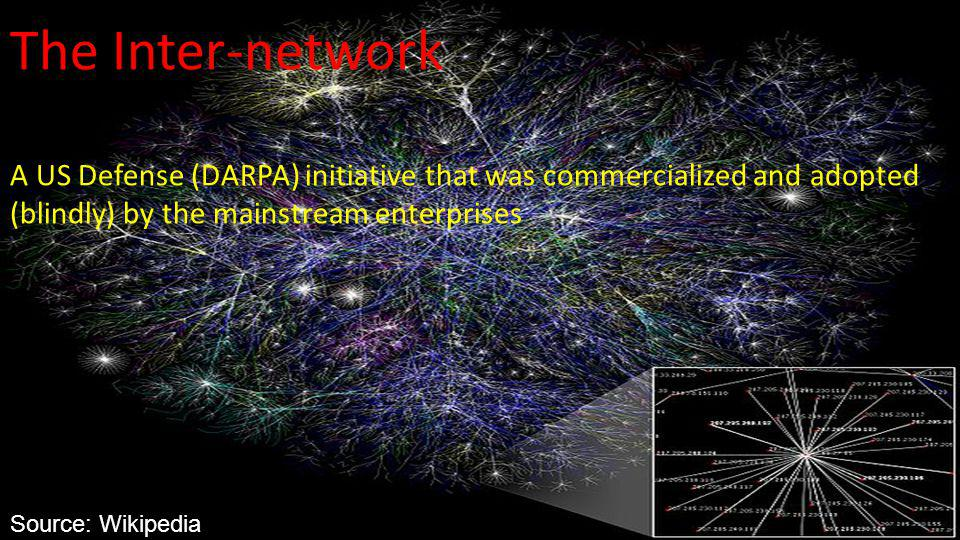 www.uniken.com The Inter-network A US Defense (DARPA) initiative that was commercialized and adopted (blindly) by the mainstream enterprises Source: Wikipedia