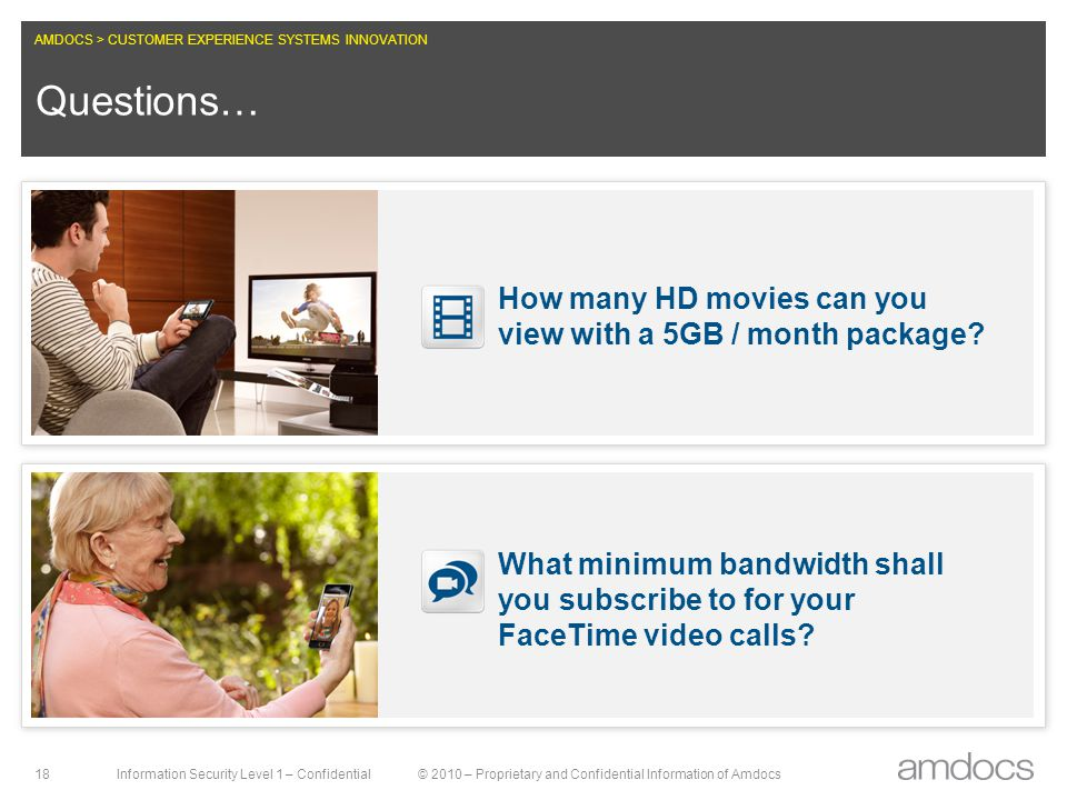 AMDOCS > CUSTOMER EXPERIENCE SYSTEMS INNOVATION Information Security Level 1 – Confidential© 2010 – Proprietary and Confidential Information of Amdocs 18 Questions… How many HD movies can you view with a 5GB / month package.