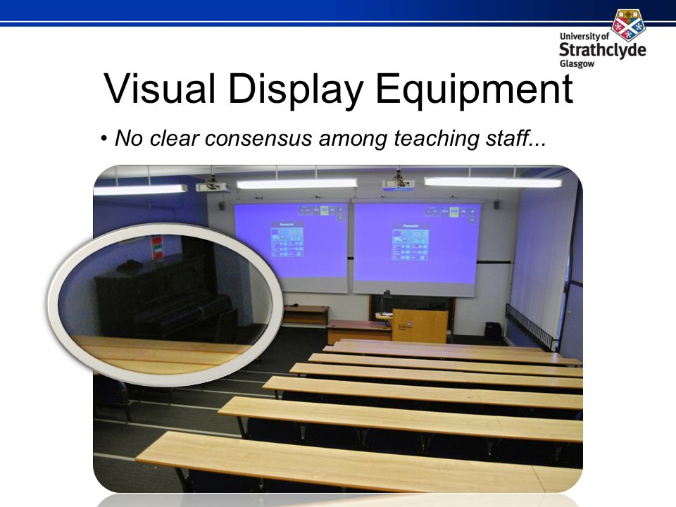 Visual Display Equipment No clear consensus among teaching staff...