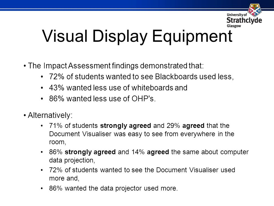 Visual Display Equipment The Impact Assessment findings demonstrated that: 72% of students wanted to see Blackboards used less, 43% wanted less use of whiteboards and 86% wanted less use of OHP s.