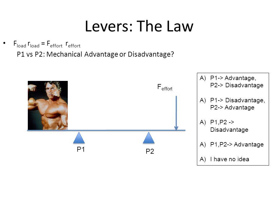 Levers: The Law F load r load = F effort r effort P1 vs P2: Mechanical Advantage or Disadvantage.