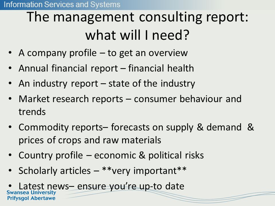 Information Services and Systems The management consulting report: what will I need.