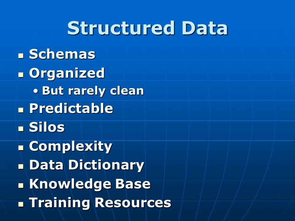 Structured Data Schemas Schemas Organized Organized But rarely cleanBut rarely clean Predictable Predictable Silos Silos Complexity Complexity Data Di