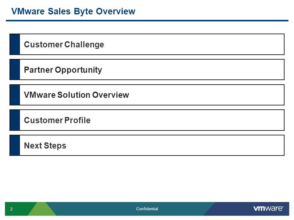2 Confidential VMware Sales Byte Overview Customer ChallengePartner OpportunityVMware Solution OverviewCustomer ProfileNext Steps