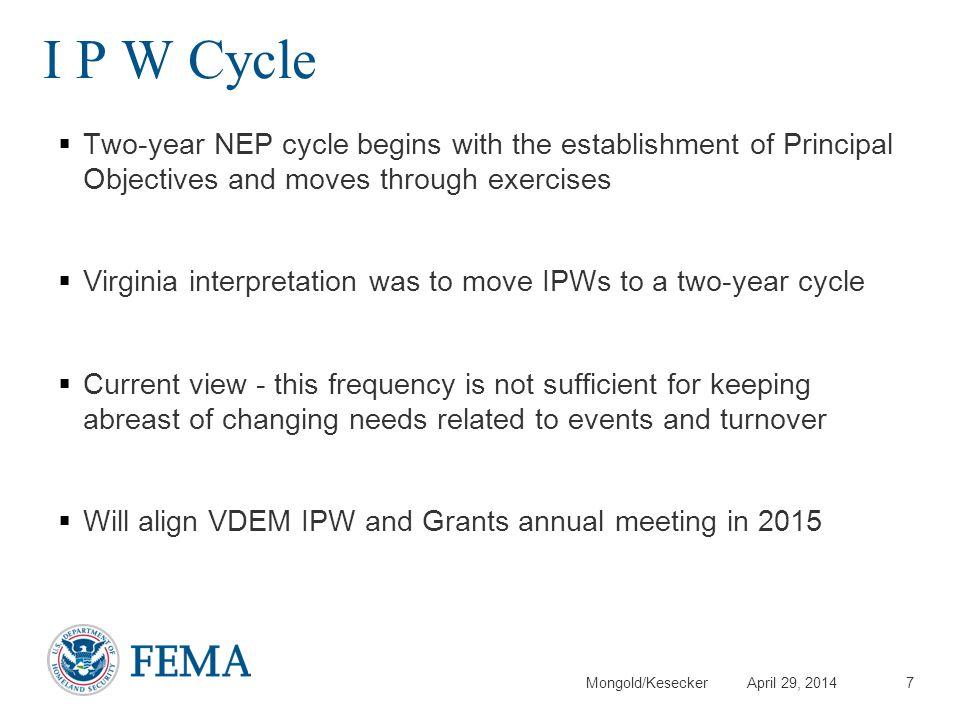 Mongold/Kesecker April 29, 2014 I P W Cycle Two-year NEP cycle begins with the establishment of Principal Objectives and moves through exercises Virgi