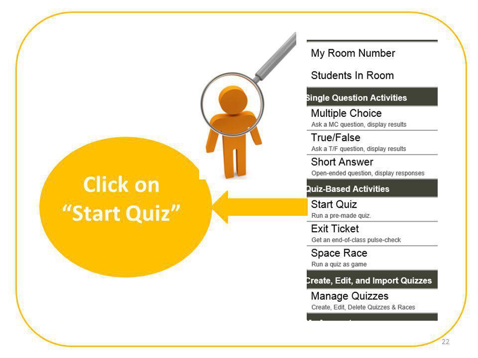 Click on Start Quiz 22