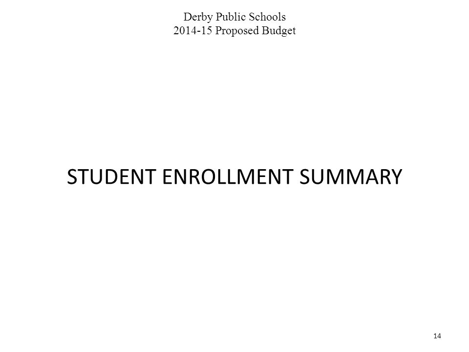 Derby Public Schools 2014-15 Proposed Budget 14 STUDENT ENROLLMENT SUMMARY