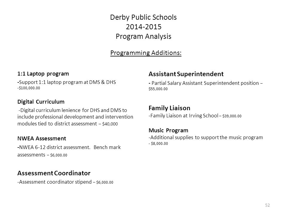 Derby Public Schools 2014-2015 Program Analysis Programming Additions: 1:1 Laptop program -Support 1:1 laptop program at DMS & DHS -$100,000.00 Digital Curriculum -Digital curriculum lenience for DHS and DMS to include professional development and intervention modules tied to district assessment – $40,000 NWEA Assessment - NWEA 6-12 district assessment.