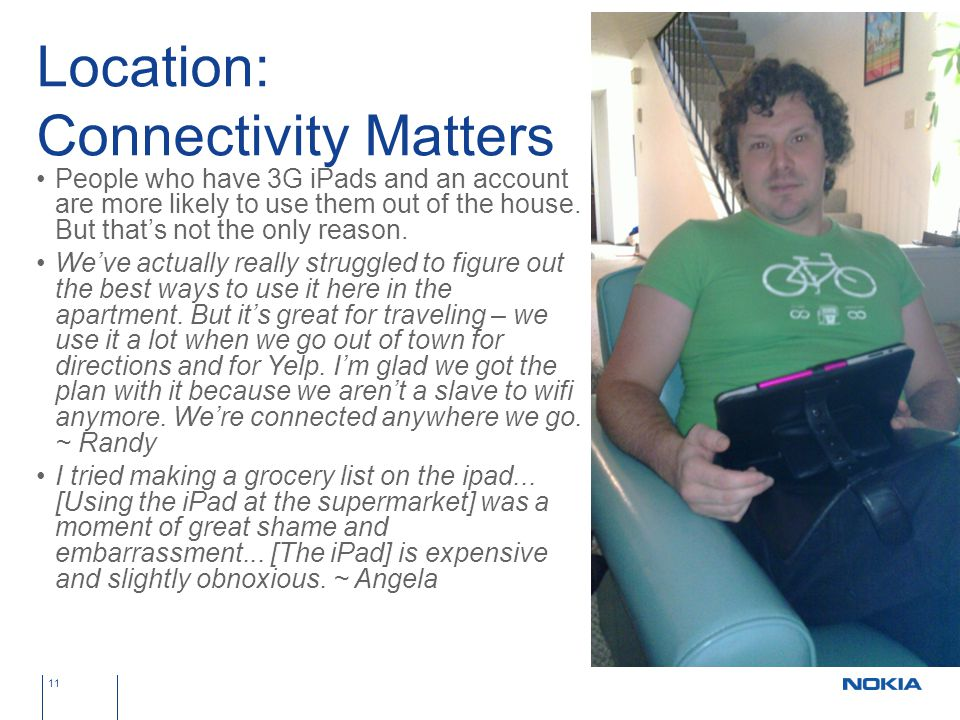 Location: Connectivity Matters People who have 3G iPads and an account are more likely to use them out of the house.