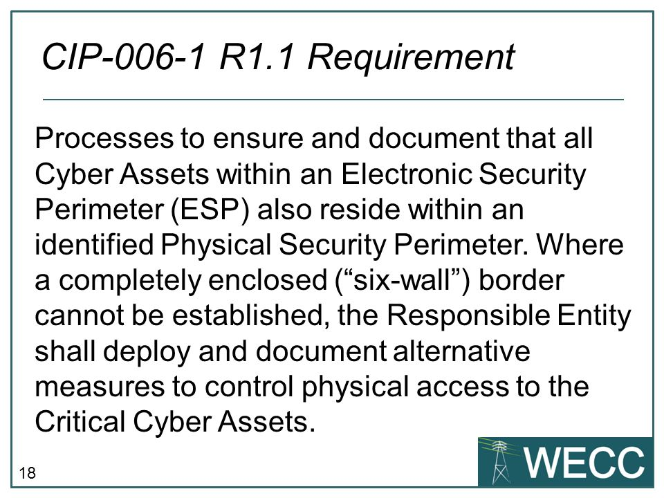 18 Processes to ensure and document that all Cyber Assets within an Electronic Security Perimeter (ESP) also reside within an identified Physical Security Perimeter.