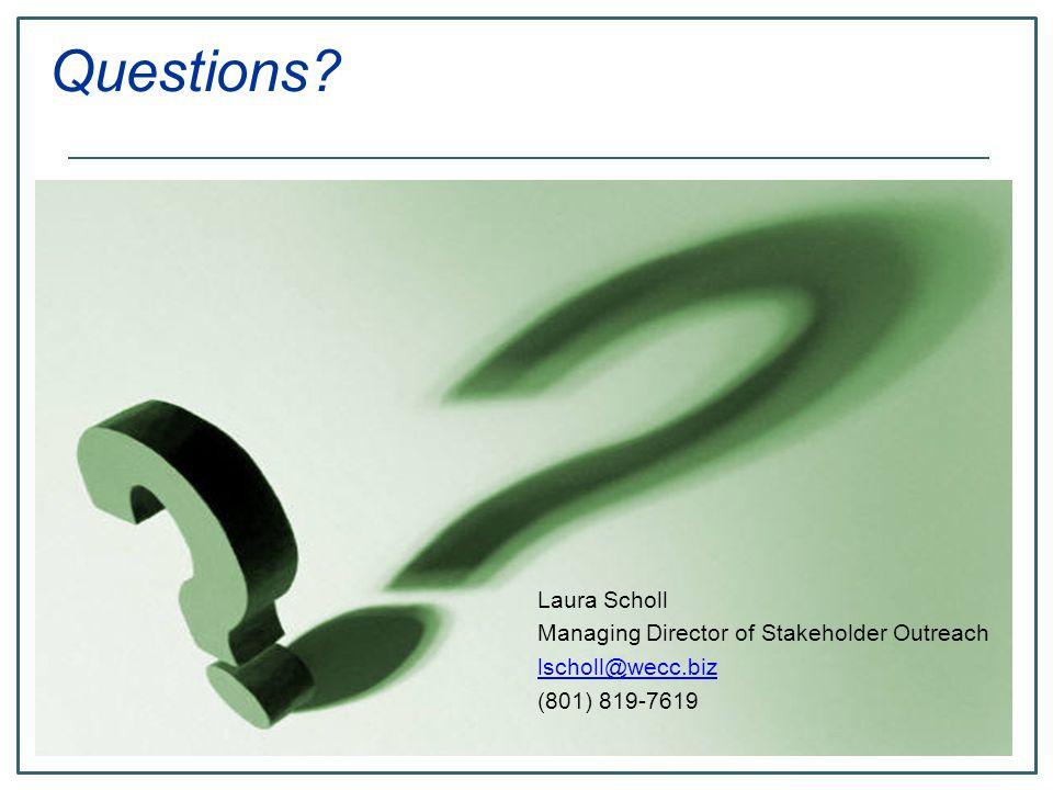 Laura Scholl Managing Director of Stakeholder Outreach lscholl@wecc.biz (801) 819-7619 Questions?