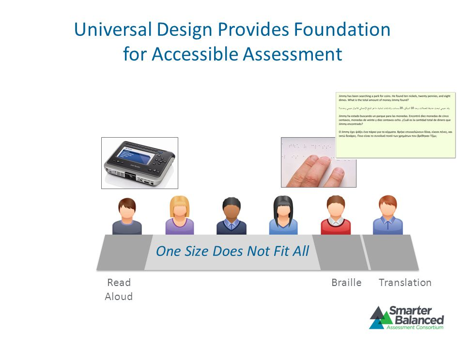 Universal Design Provides Foundation for Accessible Assessment BrailleRead Aloud Translation One Size Does Not Fit All