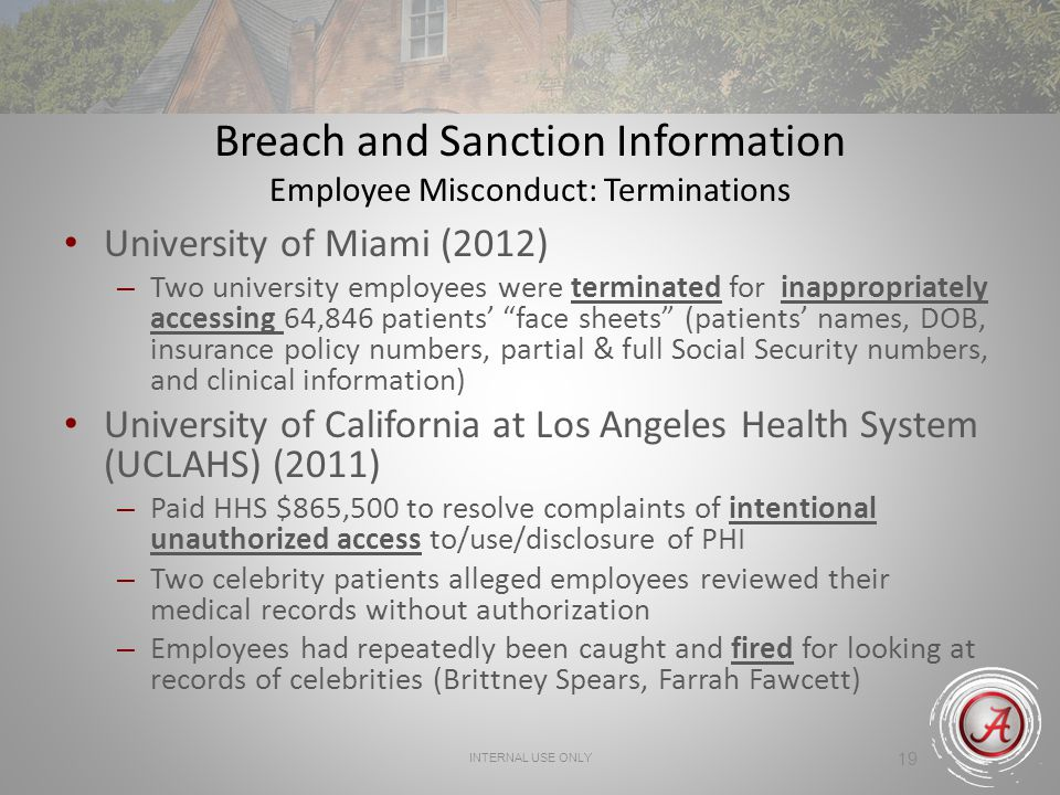 INTERNAL USE ONLY 19 Breach and Sanction Information Employee Misconduct: Terminations University of Miami (2012) – Two university employees were terminated for inappropriately accessing 64,846 patients face sheets (patients names, DOB, insurance policy numbers, partial & full Social Security numbers, and clinical information) University of California at Los Angeles Health System (UCLAHS) (2011) – Paid HHS $865,500 to resolve complaints of intentional unauthorized access to/use/disclosure of PHI – Two celebrity patients alleged employees reviewed their medical records without authorization – Employees had repeatedly been caught and fired for looking at records of celebrities (Brittney Spears, Farrah Fawcett)