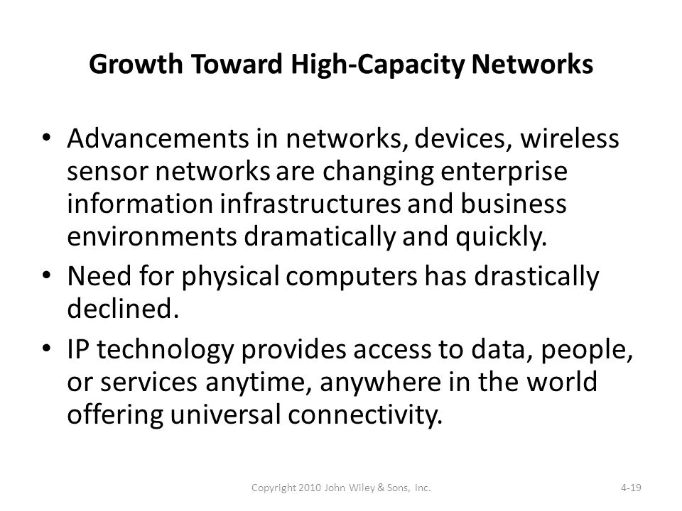 Growth Toward High-Capacity Networks Advancements in networks, devices, wireless sensor networks are changing enterprise information infrastructures a