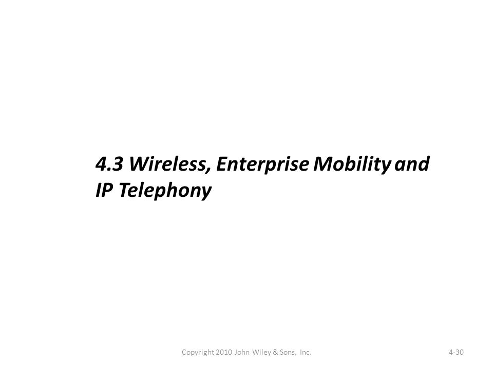 4-30 4.3 Wireless, Enterprise Mobility and IP Telephony