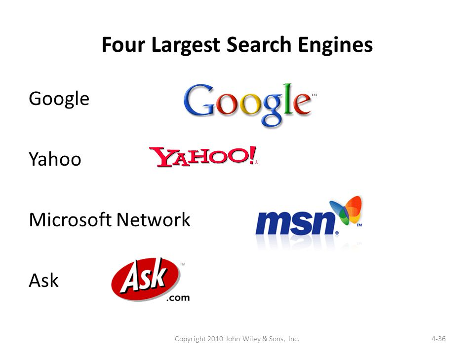 Four Largest Search Engines Google Yahoo Microsoft Network Ask 4-36Copyright 2010 John Wiley & Sons, Inc.
