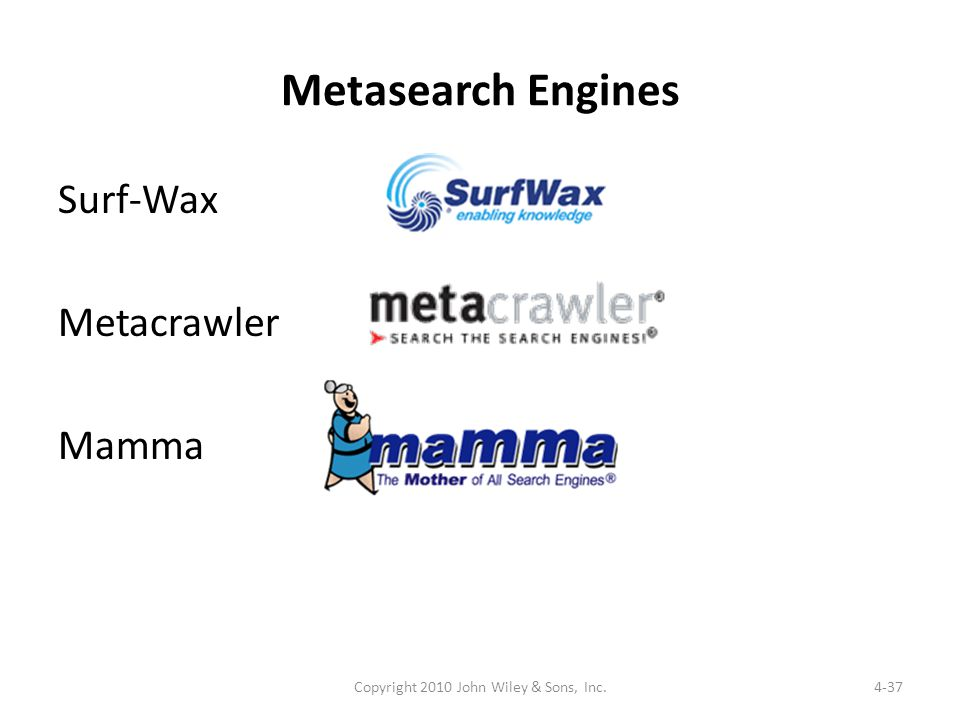 Metasearch Engines Surf-Wax Metacrawler Mamma 4-37Copyright 2010 John Wiley & Sons, Inc.
