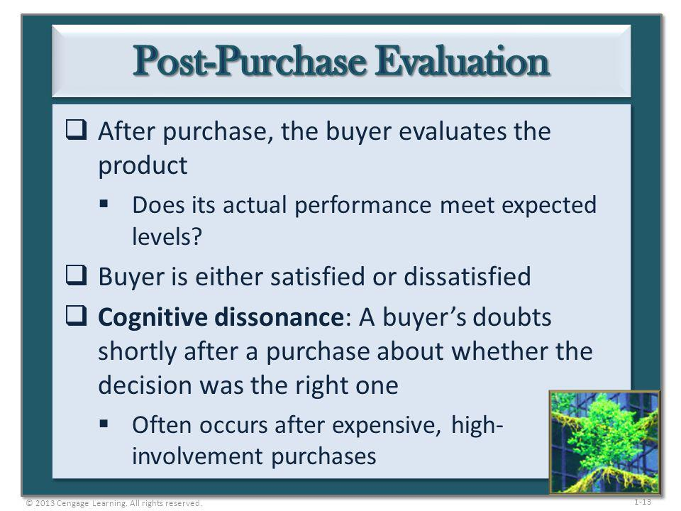 1-13 After purchase, the buyer evaluates the product Does its actual performance meet expected levels? Buyer is either satisfied or dissatisfied Cogni