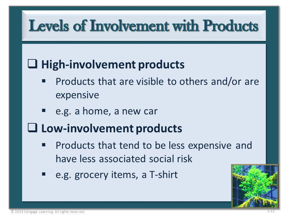 1-15 High-involvement products Products that are visible to others and/or are expensive e.g. a home, a new car Low-involvement products Products that