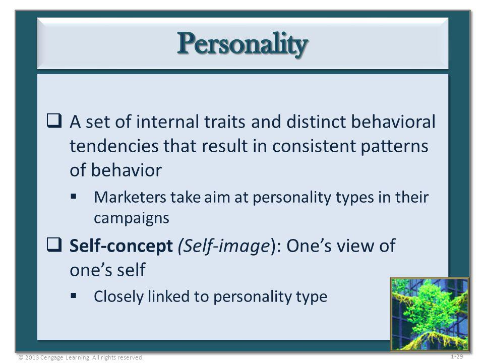 1-29 A set of internal traits and distinct behavioral tendencies that result in consistent patterns of behavior Marketers take aim at personality type