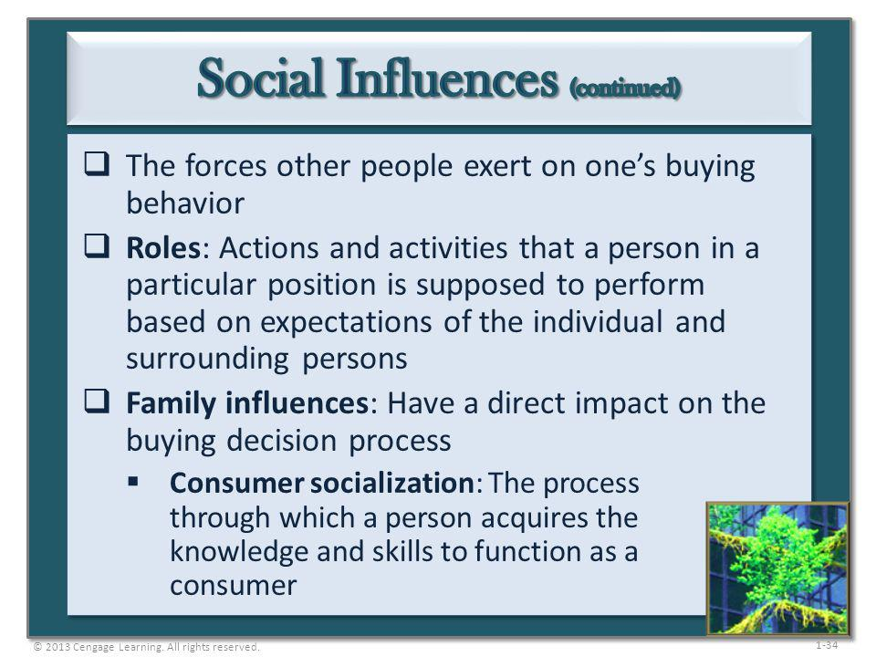 1-34 The forces other people exert on ones buying behavior Roles: Actions and activities that a person in a particular position is supposed to perform
