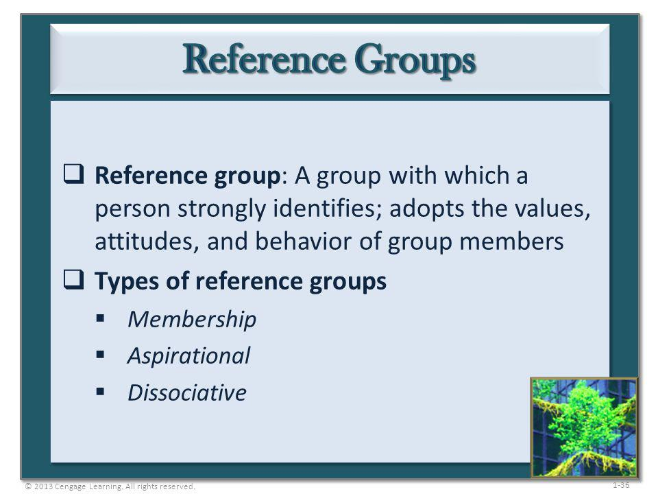 1-36 Reference group: A group with which a person strongly identifies; adopts the values, attitudes, and behavior of group members Types of reference