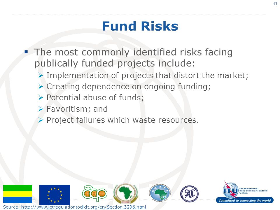 Fund Risks The most commonly identified risks facing publically funded projects include: Implementation of projects that distort the market; Creating