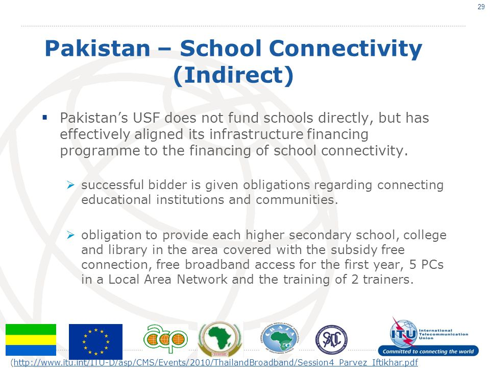Pakistan – School Connectivity (Indirect) Pakistans USF does not fund schools directly, but has effectively aligned its infrastructure financing progr