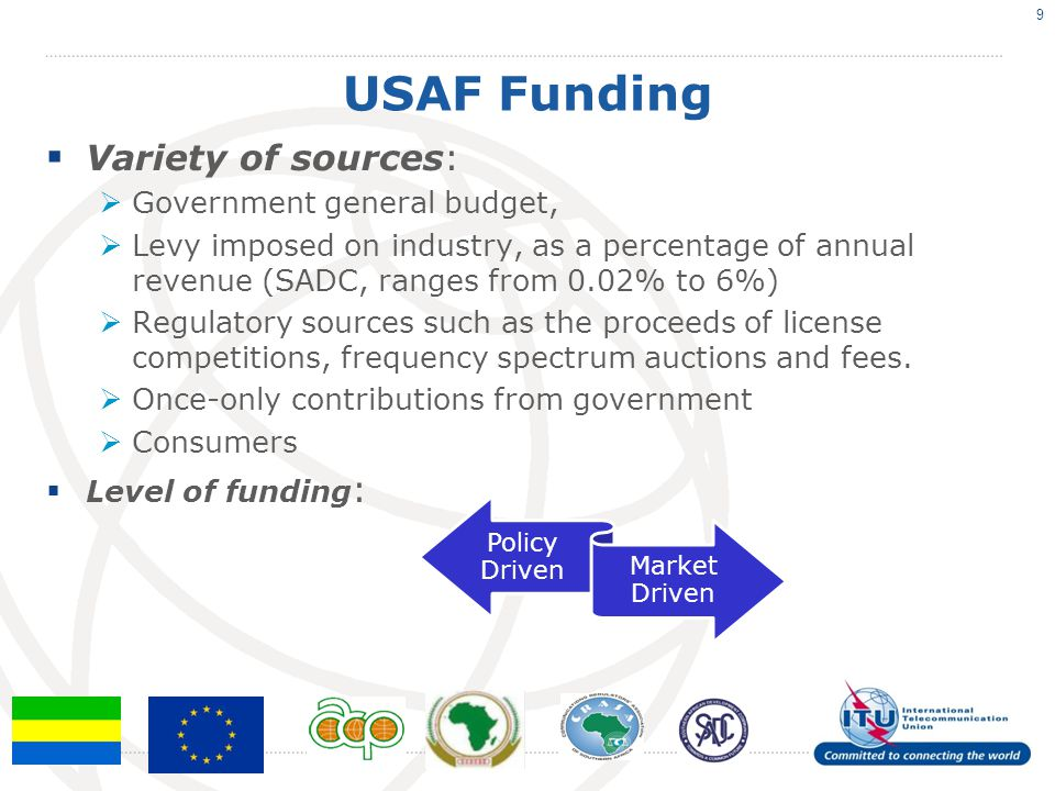 USAF Funding Variety of sources: Government general budget, Levy imposed on industry, as a percentage of annual revenue (SADC, ranges from 0.02% to 6%