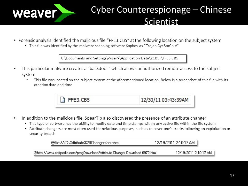 17 Cyber Counterespionage – Chinese Scientist Forensic analysis identified the malicious file FFE3.CB5 at the following location on the subject system This file was identified by the malware scanning software Sophos as Trojan.CycBotCn-A This particular malware creates a backdoor which allows unauthorized remote access to the subject system This file was located on the subject system at the aforementioned location.