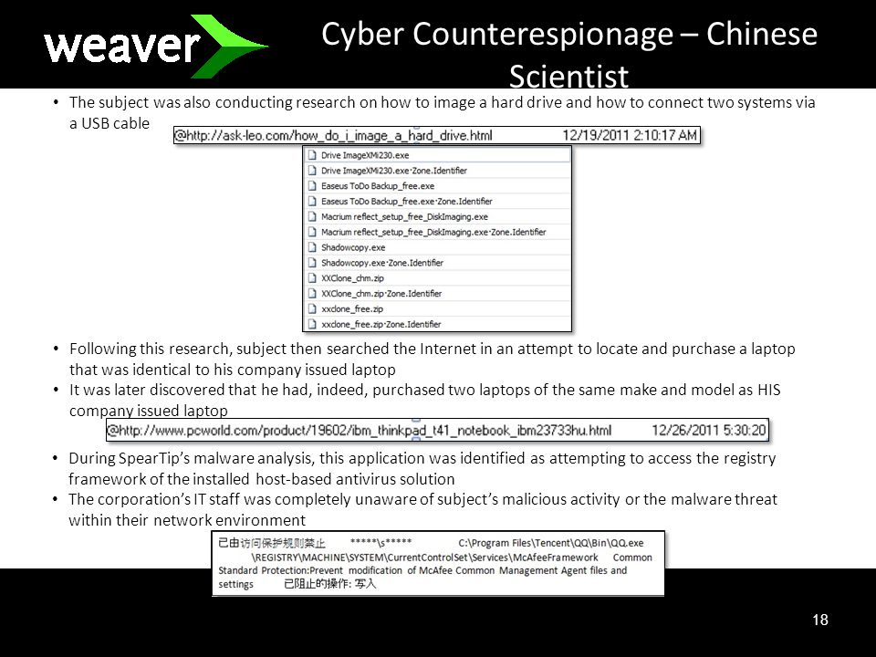 18 Cyber Counterespionage – Chinese Scientist The subject was also conducting research on how to image a hard drive and how to connect two systems via a USB cable Following this research, subject then searched the Internet in an attempt to locate and purchase a laptop that was identical to his company issued laptop It was later discovered that he had, indeed, purchased two laptops of the same make and model as HIS company issued laptop During SpearTips malware analysis, this application was identified as attempting to access the registry framework of the installed host-based antivirus solution The corporations IT staff was completely unaware of subjects malicious activity or the malware threat within their network environment