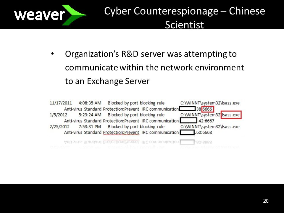 20 Cyber Counterespionage – Chinese Scientist Organizations R&D server was attempting to communicate within the network environment to an Exchange Server